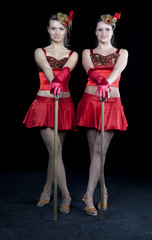 Two dancers in the red dress
