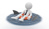 Businessman floating in a life preserver with sharks around