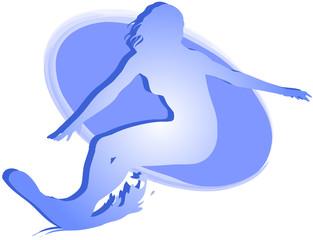 Donna sul surf: icona