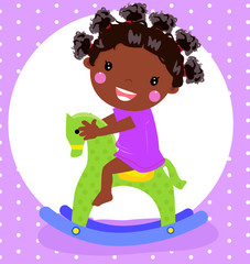 Vector illustration of a dolly girl on rocking horse