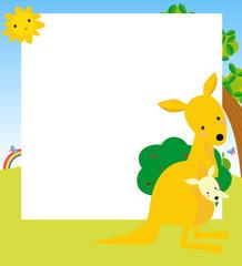 kangaroo and its baby frame-vector