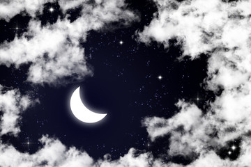 moon and star in night sky