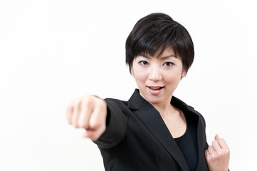 a portrait of asian businesswoman fighting