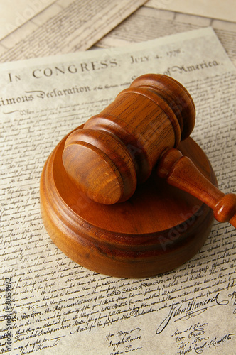 legal gavel and the Declaration of Independence