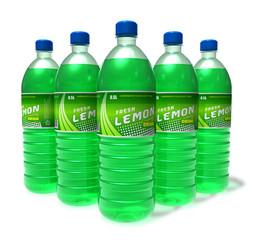 Set of lemon drinks in plastic bottles