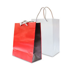 red and white paper shopping bag isolated
