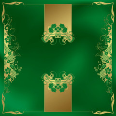 Green Gold Floral Background