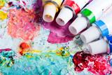 Fototapety Farbpalette mit verschiedenen Farbtuben