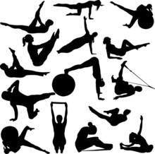 pilates femmes silhouettes - vecteur
