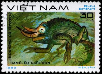 VIETNAM - CIRCA 1983 Chameleon