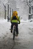 circulation à vélo sous la neige poster
