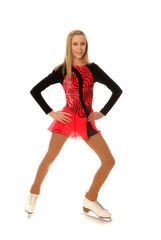 Smiling Teenage Figure Skater in Performance Costume