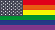 US and rainbow flag mix