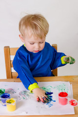 Painting child - 2 years old baby boy