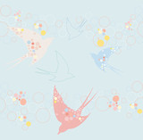 Cute swallow seamless pattern