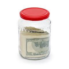 Money in a glass jar is isolated