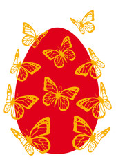 easter egg with butterflies, vector