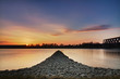 Sunset at Rhein river, Wörth, Germany