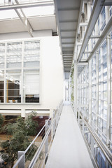 Walkway and atrium in modern office building