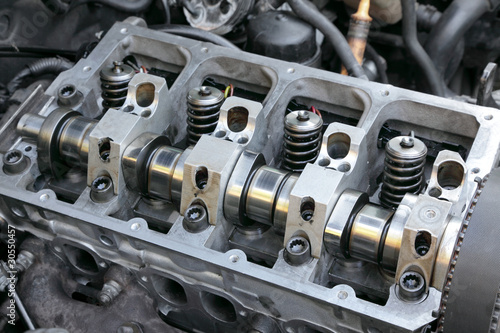 Modern car engine, camshaft springs and valves