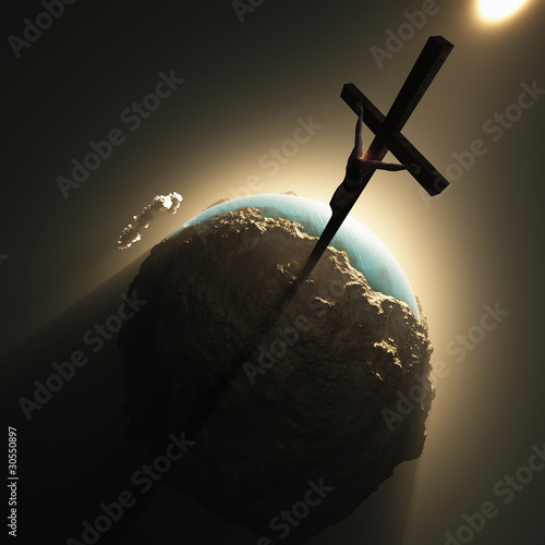jesus crucifix above world