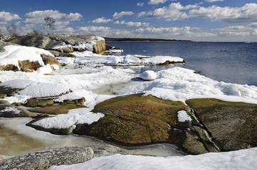Sunny sea landscape in March
