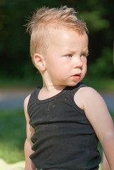 worried caucasian boy