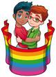 Born this way. Cartoon and vector image for gay pride.