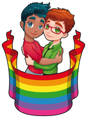 Born this way. Cartoon and vector image for gay pride.