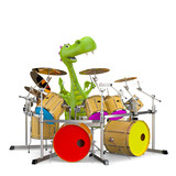 dino baby dragon playing drums
