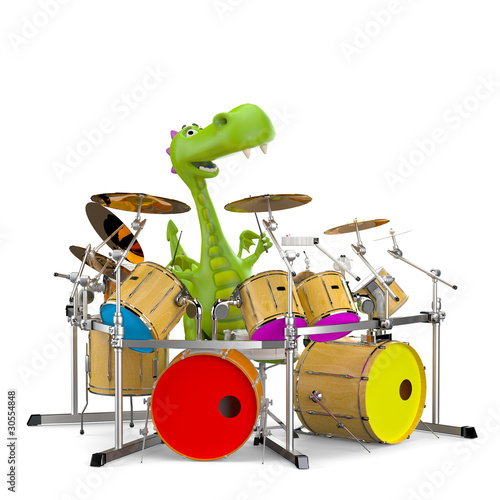 dino baby dragon playing drums - 30554848