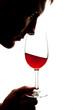 Silhouette of man degusting wine