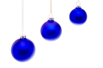 Row Close Up Blue Christmas Balls Hanging Isolated