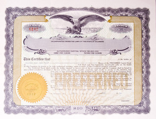 Old US Stock Certificate Eagle Medallion American