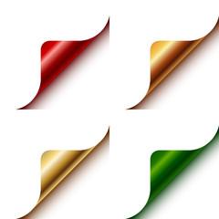 Christmas Metallic Paper Corners Gold/Red/Green