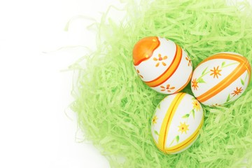 Easter eggs in bird nest