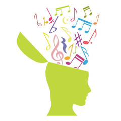 Music therapy, musical notes in the head