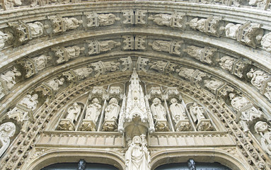 Entrance of Sablon church in Brussels