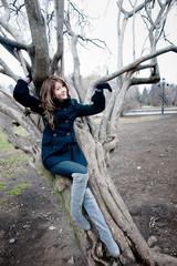 girl near the curvy tree