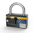 Padlock showing credit card