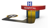 Hospital with heliport poster