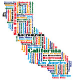 abstract word cloud based vector map of california state
