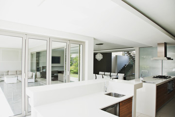 White counters in elegant kitchen