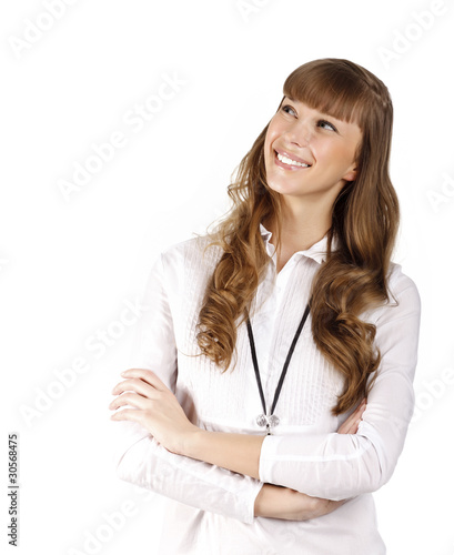 young woman smiling, isolated on white background