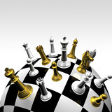 3d gold and silver chessmans on round chessboard