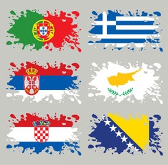 Splash flags set Balkans & Southern Europe