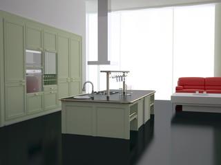 Interior of modern new kitchen