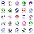 Spiral movement and rotation. Design elements set.