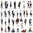 A collage of images with a lot of young business people