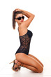 sexy brunette in  lingerie and sunglasses
